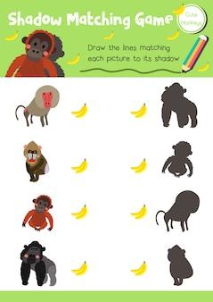 Schaduw matching game aap dier