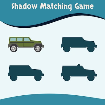 Schaduw matching game kleurrijke auto premium vector goed voor kinderen onderwijs en collectie