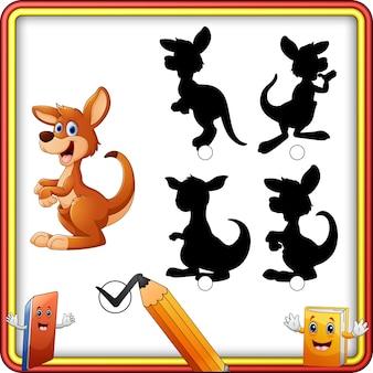 Schaduw matching van kangoeroe cartoon