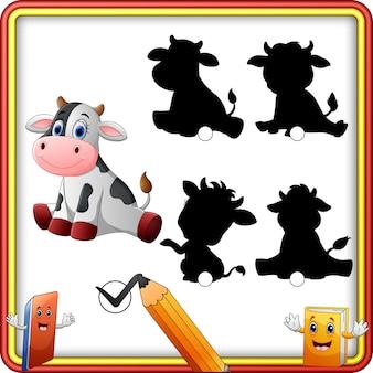 Schaduw matching van koe cartoon