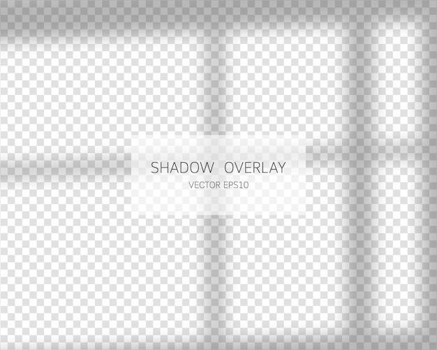 Schaduw-overlay-effect. natuurlijke schaduwen van venster geïsoleerd op transparante achtergrond. illustratie.