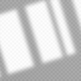 Schaduw overlay-effect. transparante overlay schaduw van het raam. realistisch zacht lichteffect van schaduwen en natuurlijke bliksem op transparante achtergrond. minimale lege studioruimte.