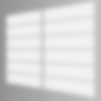 Schaduw overlay-effect. zacht licht en schaduwen van raam en lamellen. realistische vector mockup van transparant schaduwoverlay-effect en natuurlijke bliksem in het interieur van de kamer.