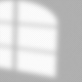 Schaduw overlay-effect. zacht licht en schaduwen van raam. realistische vector mockup van transparant schaduwoverlay-effect en natuurlijke bliksem in het interieur van de kamer.