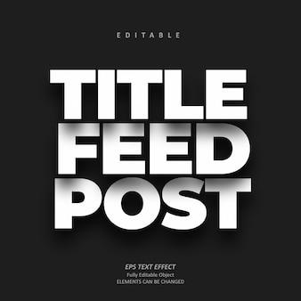 Schaduw titel feed bericht teksteffect bewerkbare premie
