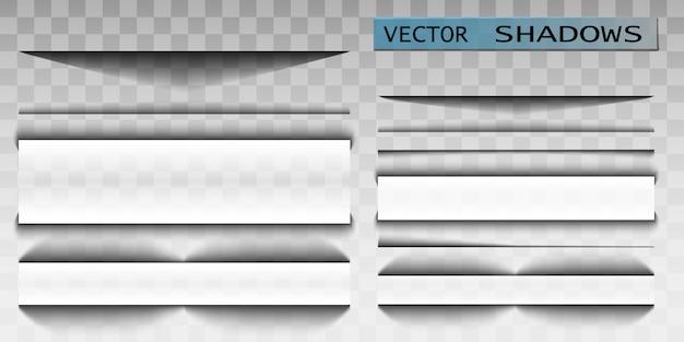 Schaduw. transparante schaduw realistische afbeelding. paginaverdeler met transparante schaduw. pagina's ingesteld.