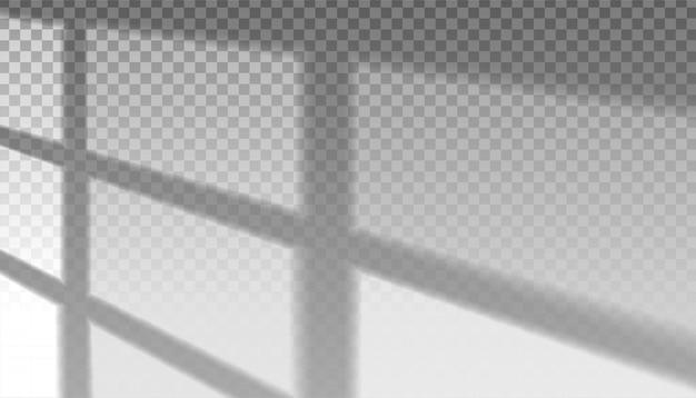 Schaduw van groot vierkant raam op transparant. zonlichtvormende vormen.
