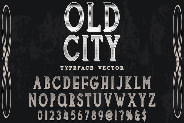 Schaduweffect alfabet label ontwerp oude sity