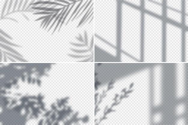 Schaduweffecten frames realistische transparante set geïsoleerde illustratie