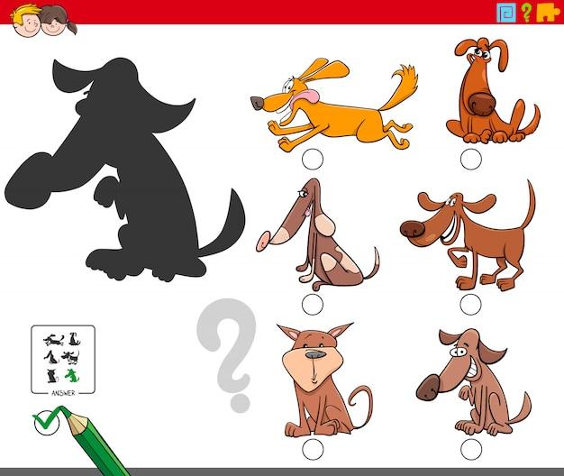 Schaduwen spel met hond stripfiguren