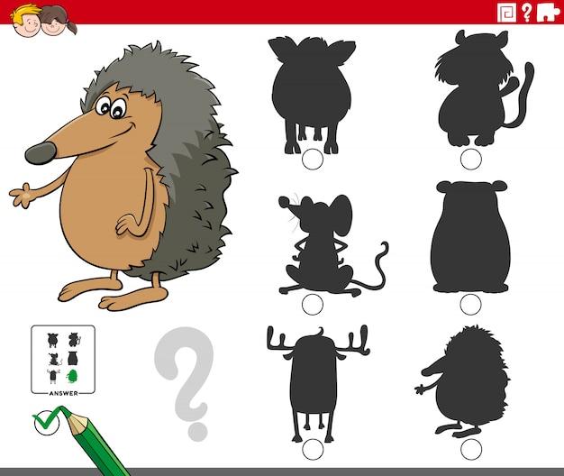 Schaduwen taak met dierlijke stripfiguren