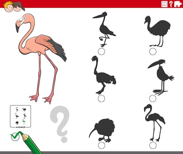 Schaduwen taak met flamingo dier stripfiguur