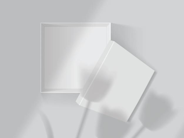 Schaduwen van tulpen en ramen op een witte open doos