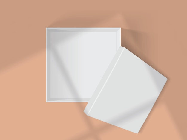 Schaduwen van vensters op een witte doos