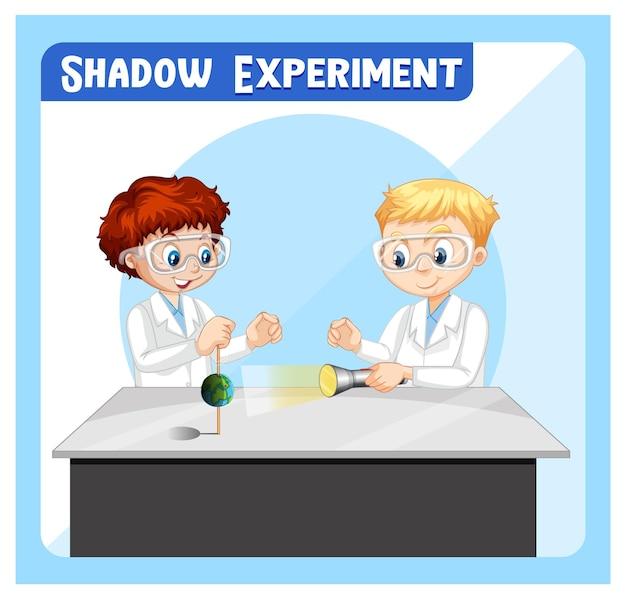 Schaduwexperiment met stripfiguur voor kinderen van wetenschappers