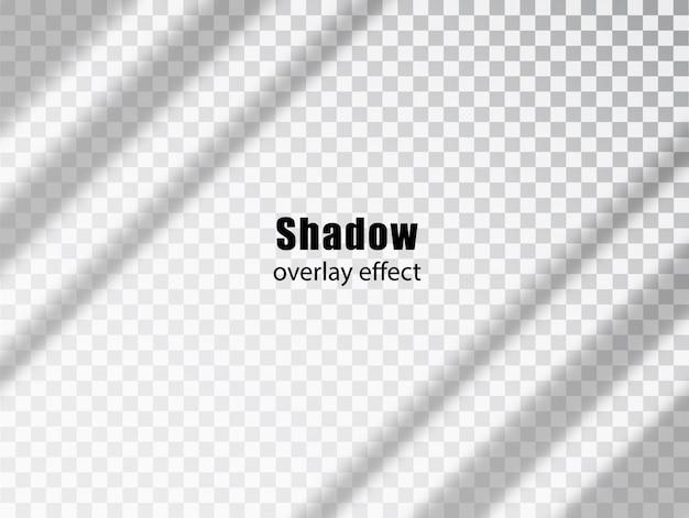 Schaduwoverlay transparant effect. licht en schaduw realistische grijze decoratieve achtergrond. schaduw en licht uit het raam. mockup van transparant schaduw-overlay-effect en natuurlijke bliksem