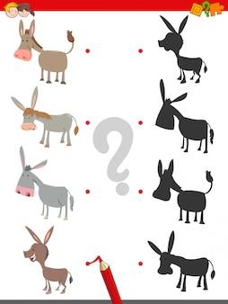 Schaduwspel met schattige ezel karakters