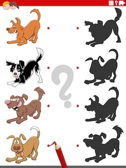 Schaduwtaak met speelse hondkarakters