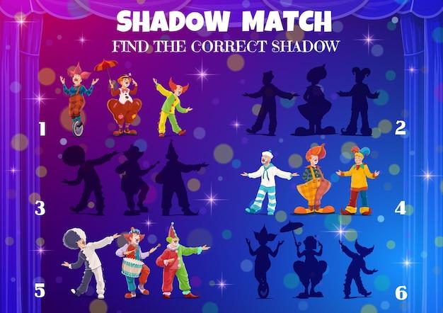 Schaduwwedstrijdspel voor kinderen. circusclowns, vind een correct vectorraadsel op het tafelblad. zoek en match dezelfde schaduw van kermis carnaval circus clown met paraplu en fiets, bord doolhof
