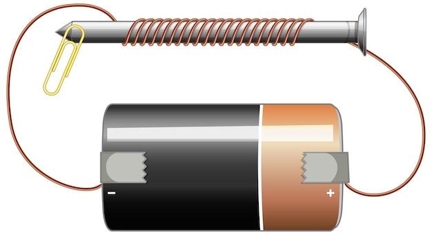 Schakelschema met batterij en schroef