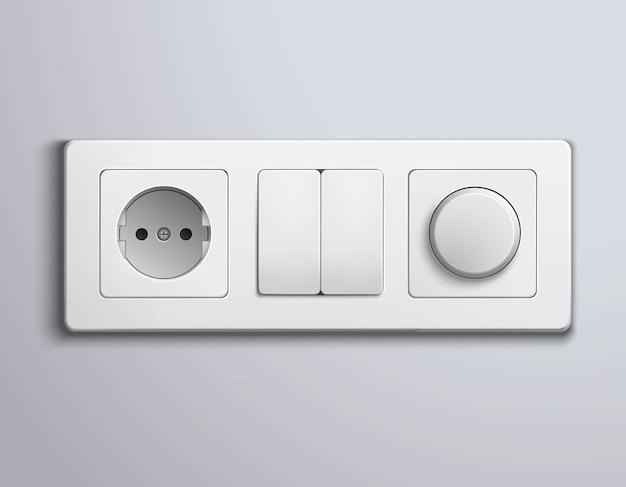 Schakelt sockets realistic panel