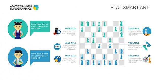Schaken infographics dia sjabloon