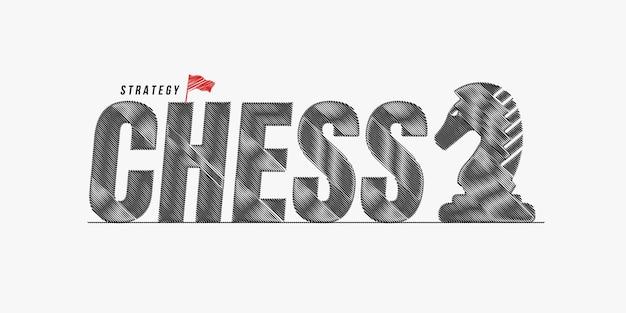 Schaken krabbel tekst ontwerp achtergrond, schaak belettering typografie, bordspel competitie concept