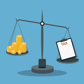Schalen met geld en belastingen