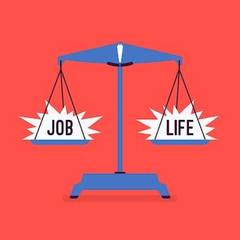 Schalen tool met werk en leven goede balans. metafoor van harmonie, prettige overeenkomst van werk, familieakkoord, gelijk gewicht van belang, motivatie om de juiste levensstijl te kiezen. vector illustratie