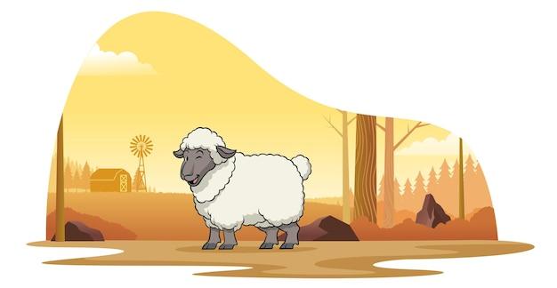 Schapen in boerderij met cartoonstijl