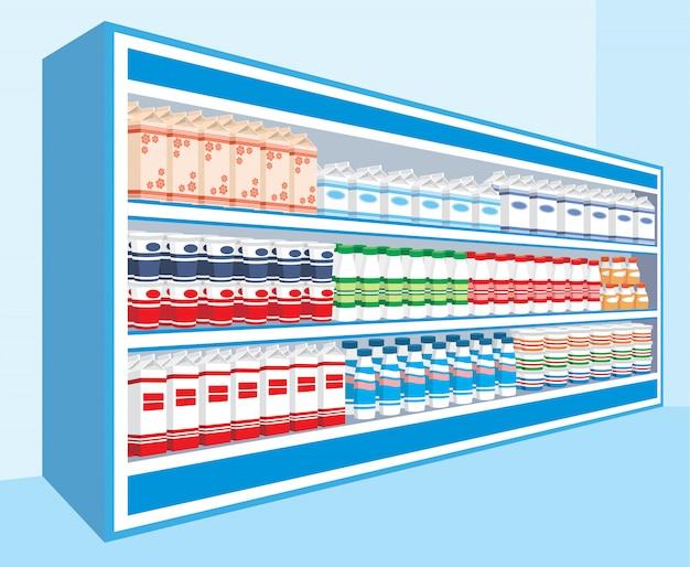 Schappen in de supermarkt met zuivelproducten