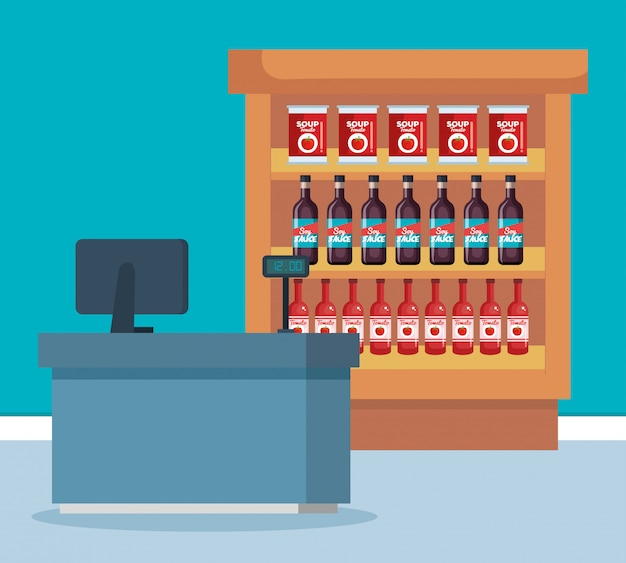 Schappen van de supermarkt met producten en verkooppunt