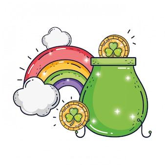 Schat ketel met regenboog saint patrick dag