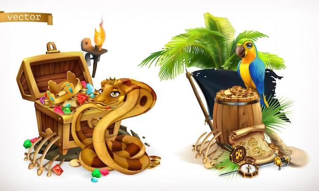 Schat zoeken en avontuur. spel logo 3d set