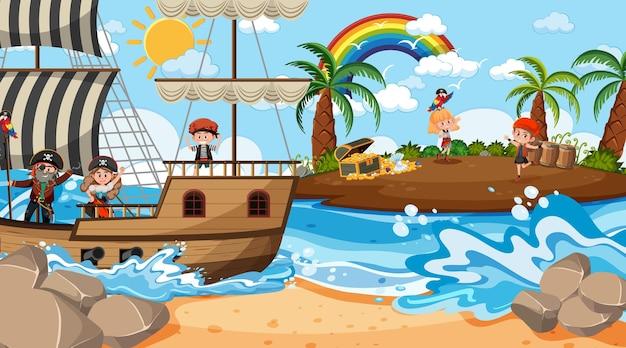 Schateiland-tafereel overdag met piratenkinderen