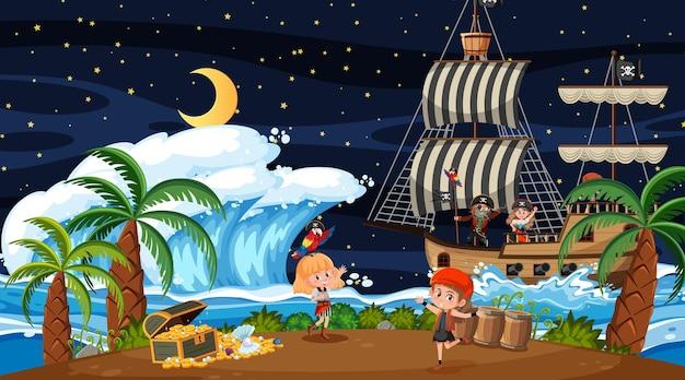 Schateilandscène 's nachts met piratenkinderen