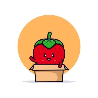 Schattig aardbei karakter in doos platte pictogram illustratie