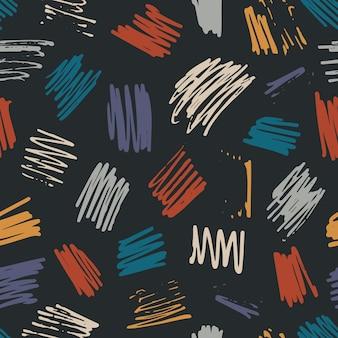 Schattig abstract vector kleurrijke getextureerde hand getekende krabbel vierkante vorm naadloze patroon