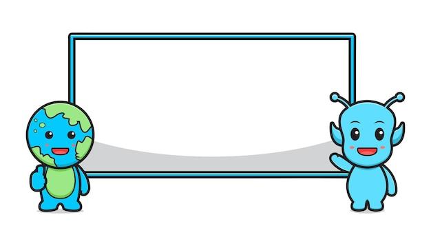 Schattig alien en aarde met lege banner bord cartoon vector pictogram illustratie. geïsoleerd ontwerp. platte cartoonstijl.