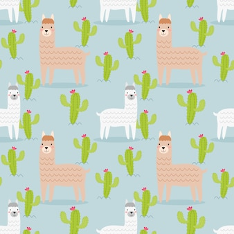 Schattig alpaca en cactus naadloze patroon.