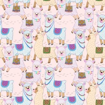 Schattig alpaca naadloze patroon vector ontwerp.