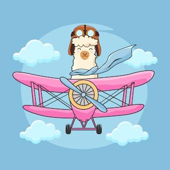Schattig alpaca vliegend vliegtuig