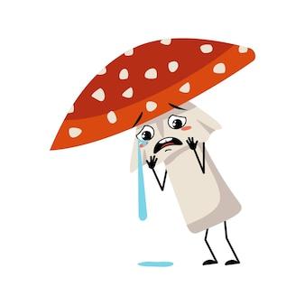 Schattig amanita karakter met huilen en tranen emotie verdrietig gezicht depressieve ogen armen en benen vliegen agar...