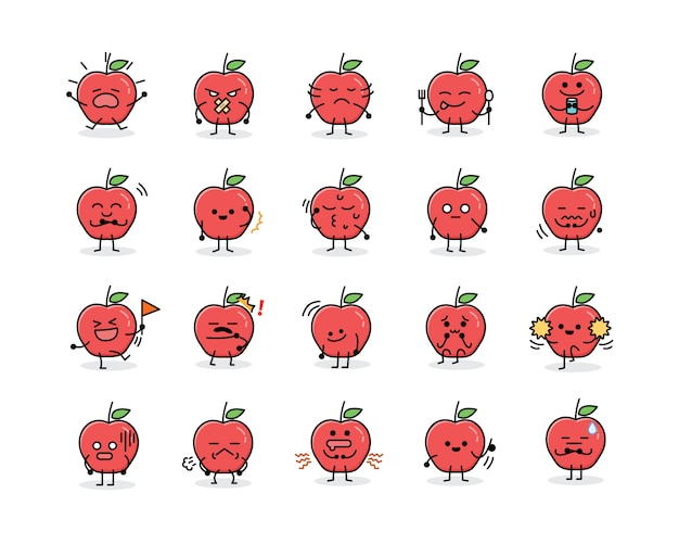 Schattig apple fruit mascotte karakter in platte ontwerpstijl