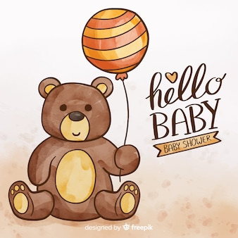 Schattig aquarel baby shower sjabloon