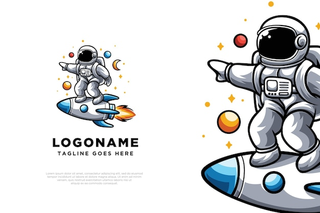 Schattig astronaut illustratie logo ontwerp