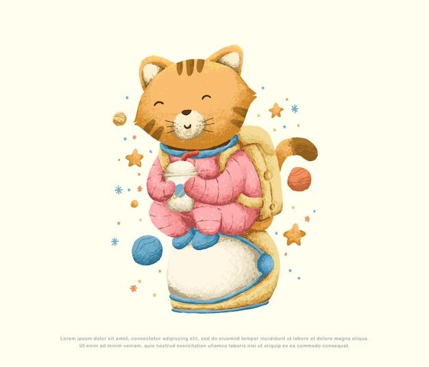 Schattig astronaut karakter illustratie ontwerp