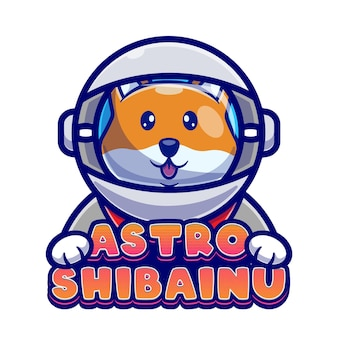 Schattig astronaut shiba inu cartoon logo sjabloon.