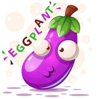 Schattig aubergine illustratie stripfiguur