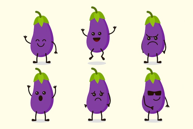Schattig aubergine plantaardige karakter geïsoleerd in meerdere uitdrukkingen
